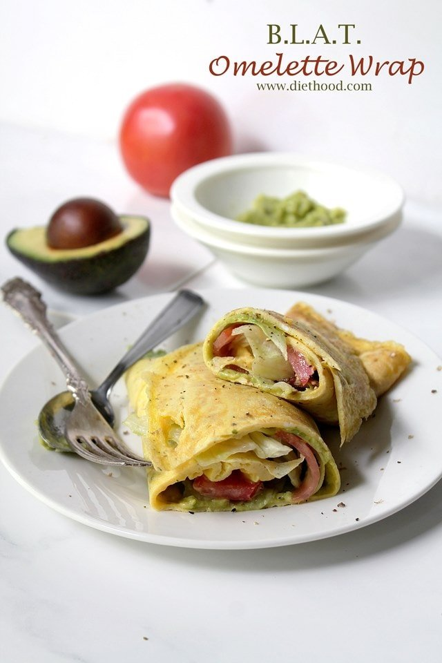B.L.A.T. Omelette Wrap | www.diethood.com | Egg omelette topped with an avocado spread, bacon, lettuce, tomato, and rolled into a wrap | #brinner #dinner #recipe #breakfast #omelette #lowcarb #glutenfree