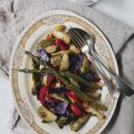 Roasted Vegetable Salad | www.diethood.com | Roasted brussels sprouts, asparagus, red cabbage, peppers, and cherry tomatoes, topped with a delicious, homemade honey mustard dressing | #salad #vegetables #summer