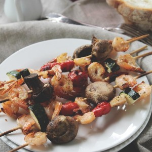 {Grilled} Lemon and Thyme Shrimp and Veggie Skewers