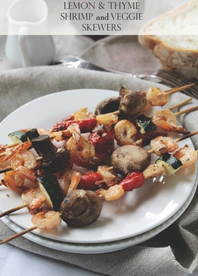 Grilled Lemon and Thyme Shrimp and Veggie Skewers | www.diethood.com | #recipe #grilling #shrimp