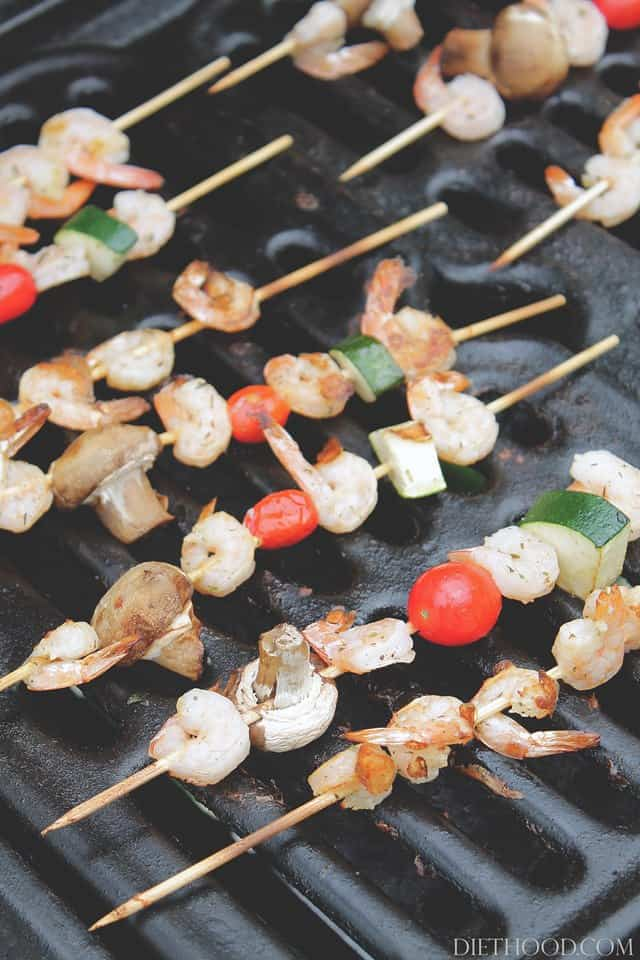 Shrimp on Grill wp {Grilled} Lemon and Thyme Shrimp and Veggie Skewers