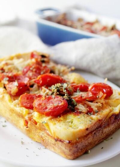 Caprese Bread Pudding | www.diethood.com