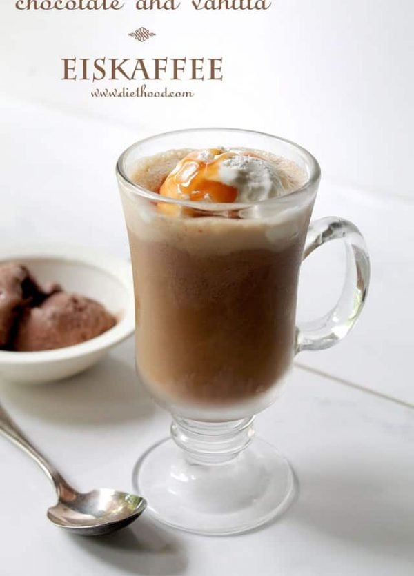 Chocolate and Vanilla Eiskaffee | www.diethood.com | Iced Coffee served over chocolate and vanilla ice cream | #recipe #coffee #icecream #summer