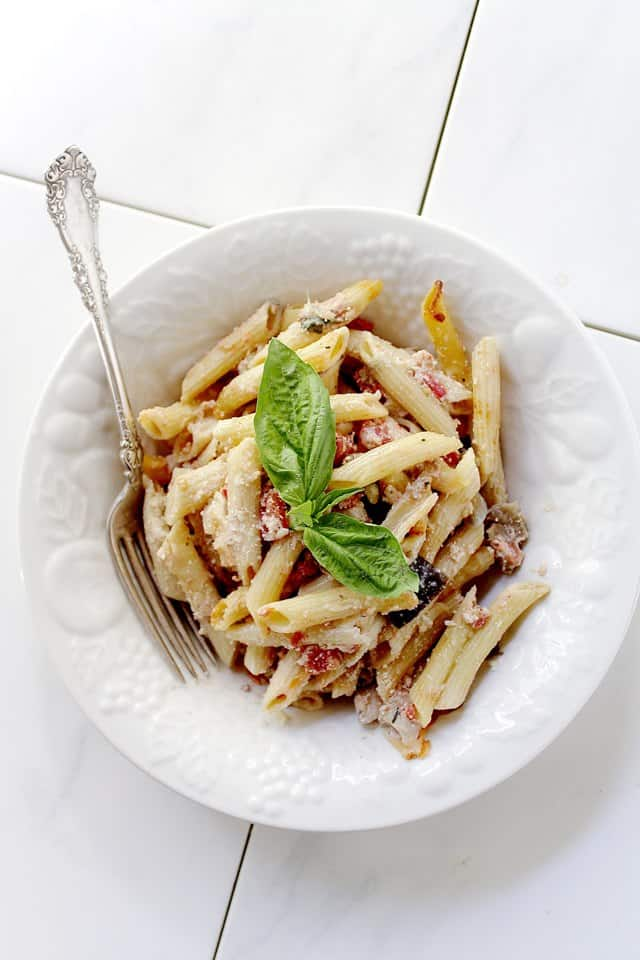 Baked Eggplant Penne Pasta | www.diethood.com | #pasta #eggplant # ...