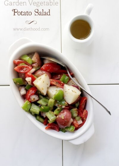 Garden Vetable Potato Salad | www.diethood.com | #recipe #potatosalad #appetizers #salad