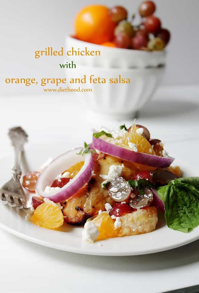 Grilled Chicken with Orange, Grape and Feta Salsa | www.diethood.com | #recipe #chicken #salsa #fruit
