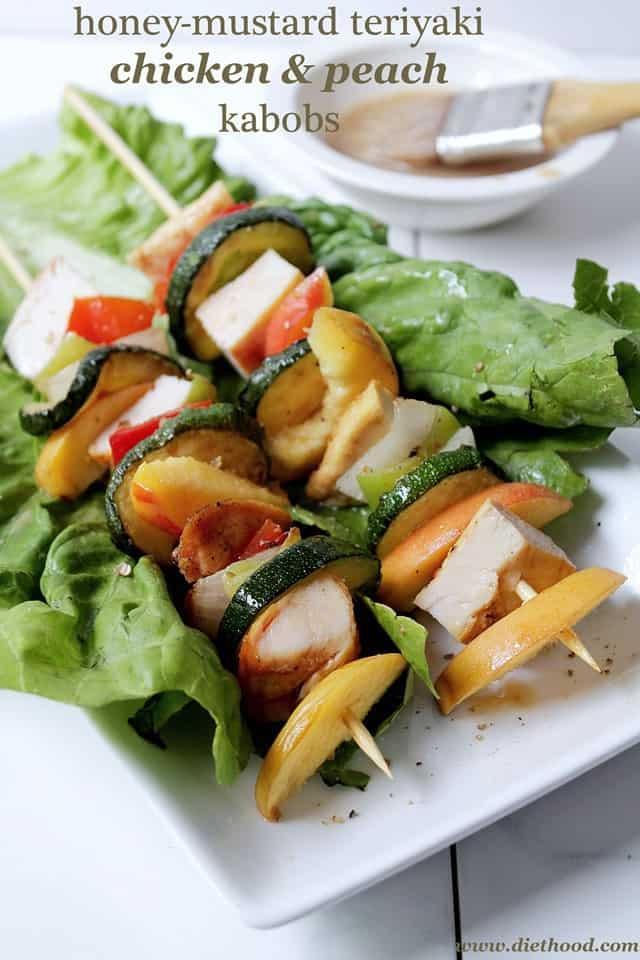 Honey-Mustard Teriyaki Chicken and Peach Kabobs | www.diethood.com ...