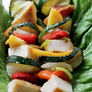 Honey-Mustard Teriyaki Chicken and Peach Kabobs
