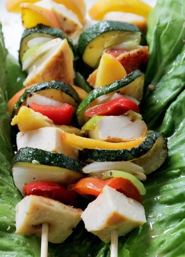 Honey-Mustard Teriyaki Chicken and Peach Kabobs | www.diethood.com | #chicken #recipe #grilling