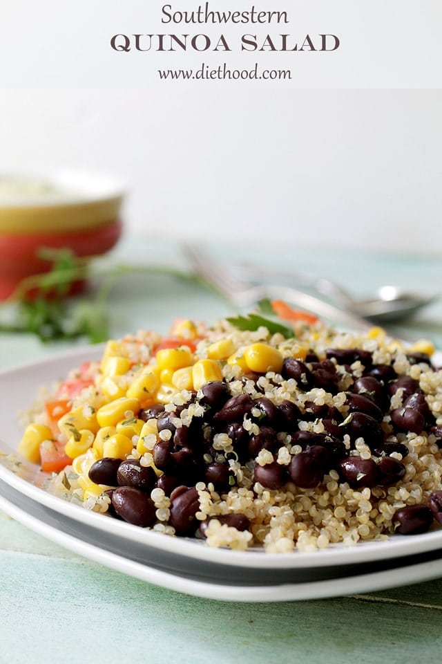 Southwestern Quinoa Salad with Creamy Avocado Dressing | www.diethood ...