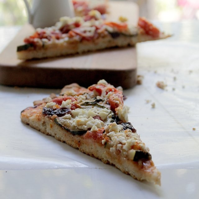 Zucchini Goat Cheese Pizza Diethood Recipe Yeast Free Pizza Dough