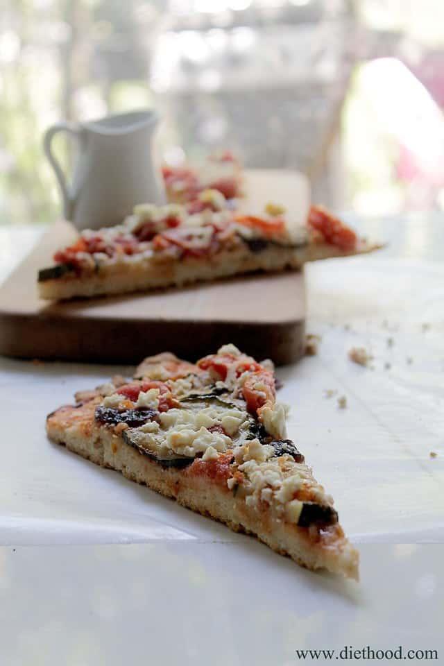 Zucchini Goat Cheese Pizza | www.diethood.com | #pizza #recipe #zucchini