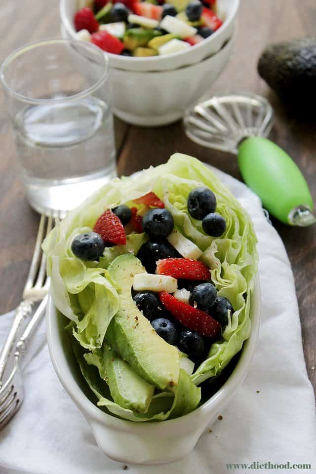 Very Berry Avocado Salad | www.diethood.com | Sweet and refreshing Very Berry Avocado Salad combined to make a healthy and delicious summer treat. | #recipe #berries #salad #avocado