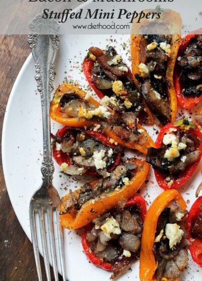 Bacon and Mushrooms Stuffed Mini Peppers | www.diethood.com | #recipe #appetizer #bacon