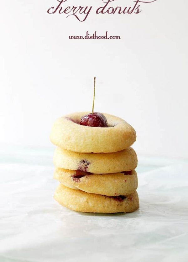 Cherry Donuts | www.diethood.com | #recipe #10lbCherryChallenge #cherries #donuts
