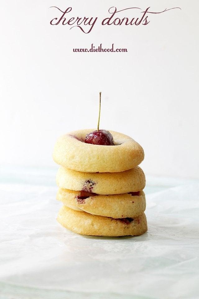 Cherry Donuts | www.diethood.com | #recipe #10lbCherryChallenge #cherries #donuts