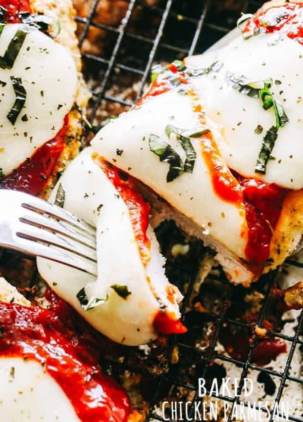 Baked Chicken Parmesan - Tender, juicy, crispy and cheesy baked chicken parmesan! It's a one-pan, 30 minute chicken parmesan dinner the whole family will enjoy.