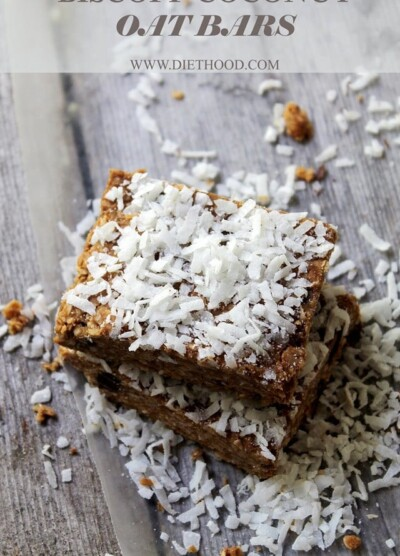 Biscoff Coconut Oat Bars | www.diethood.com | #nobake #recipe #cookies #bars