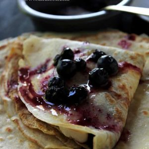 Blueberry Sauce Crepes with Honey Whipped Cream | www.diethood.com | Soft and silky Crepes filled with a sweet Honey Whipped Cream and topped with a warm Blueberry Sauce. | #recipe #breakfast #crepes #blueberries