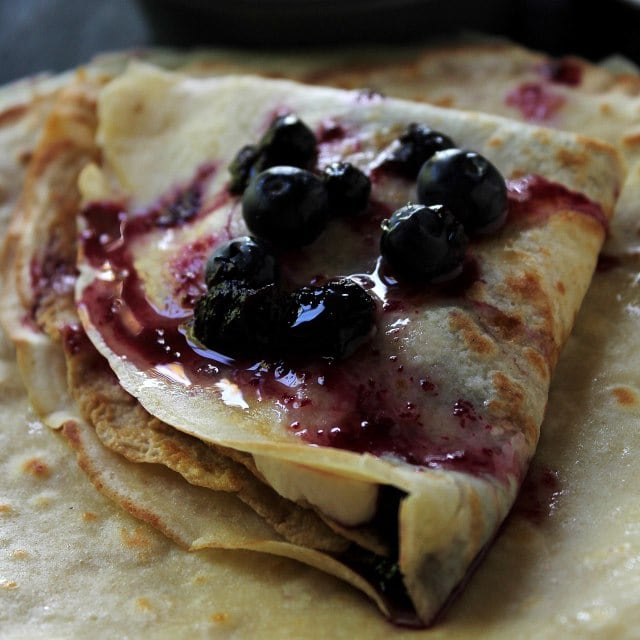 Blueberry Sauce Crepes with Honey Whipped Cream | www.diethood.com ...