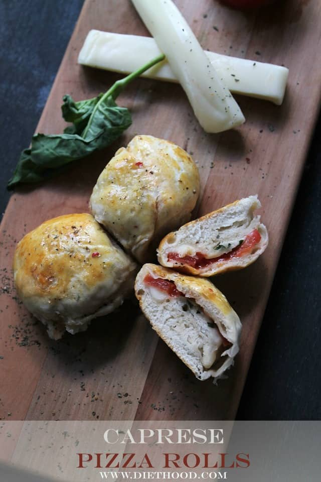 Caprese Pizza Rolls | www.diethood.com | Refrigerated biscuits filled with the delicious Caprese mixture of tomatoes, mozzarella, and basil. | #recipe #pizza #Caprese