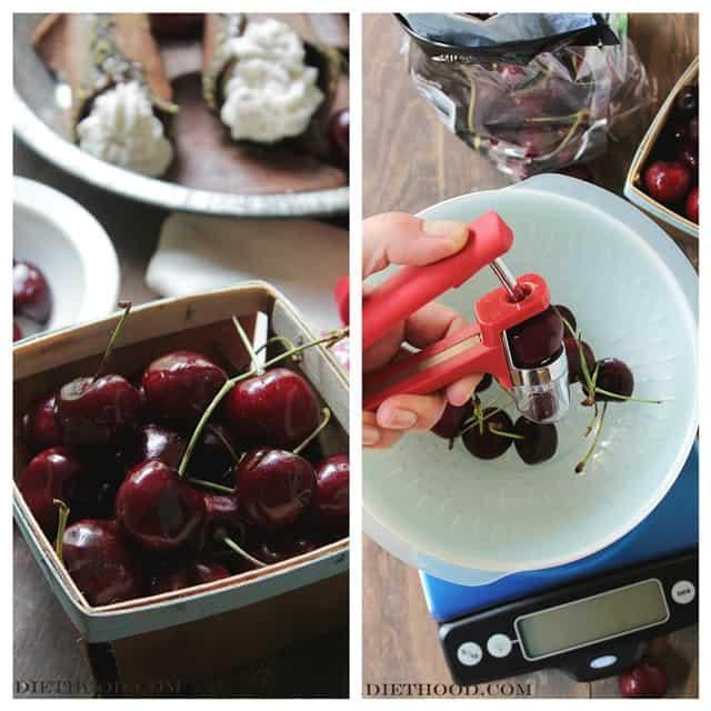 Cherries Collage Diethood Black Forest Cannoli { #10lbCherryChallenge }