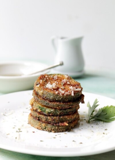 Fried Zucchini with Garlic Vinaigrette | www.diethood.com | Zucchini rounds coated in breadcrumbs, fried to a crisp, and dressed with a drizzle of a garlic vinaigrette. | #zucchini #recipes