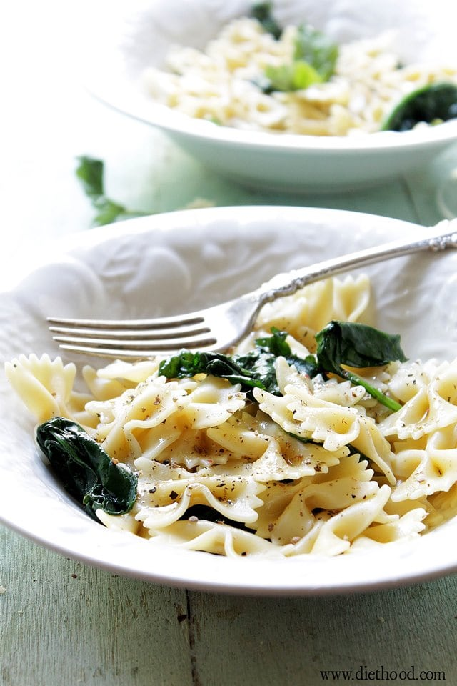 Garlic Pasta Diethood Garlic Butter Spinach and Pasta + Giveaway