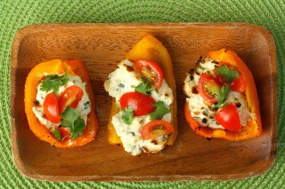Herbed Cream Cheese Grilled Bell Pepper Boats from Chocolate Moosey
