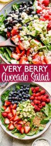 Berry avocado salad pin image