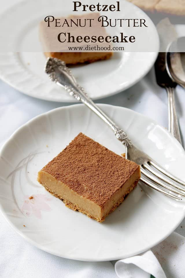 Pretzel Peanut Butter Cheesecake | www.diethood.com | Salty pretzel crust topped with a thick and creamy peanut butter cheesecake filling. | #peanutbutter #cheesecake #recipe