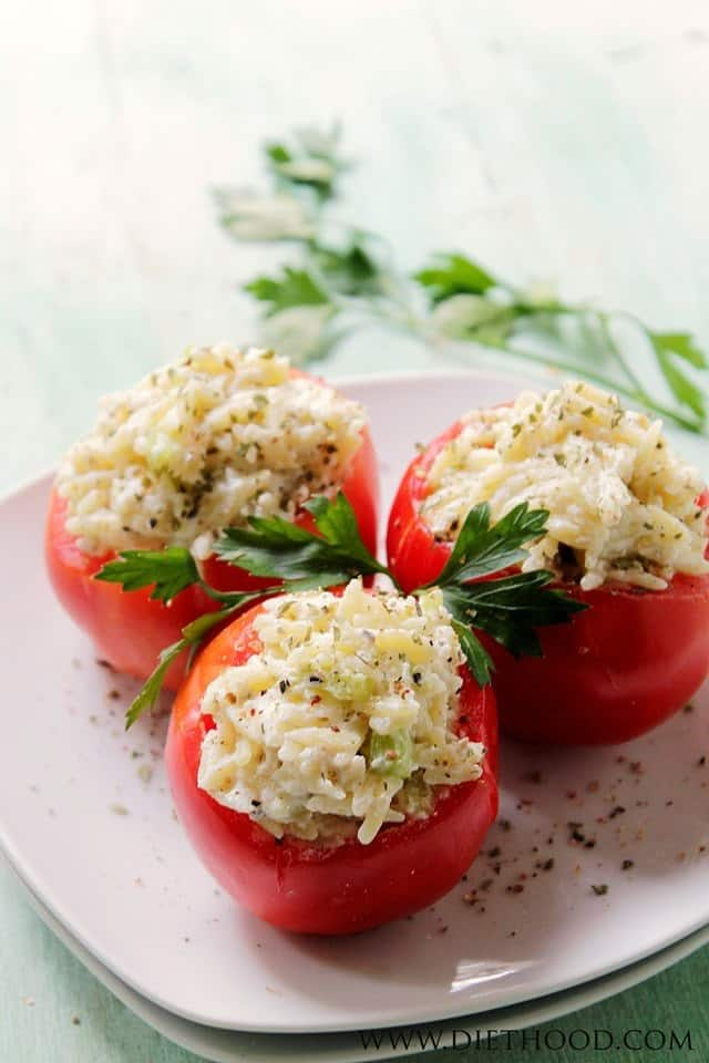 Ricotta and Orzo Stuffed Tomatoes | www.diethood.com | Garden fresh tomatoes stuffed with a mixture of orzo and ricotta cheese. | #recipe #appetizer #dinner #pasta #vegetarian