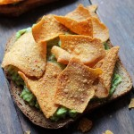 Smashed Avocado Toast with Sweet Potato Chips | www.diethood.com | Seasoned, mashed avocado served on a whole grain toast and topped with Green Giant™ Multigrain Barbecue Sweet Potato Chips | #GiantFlavor