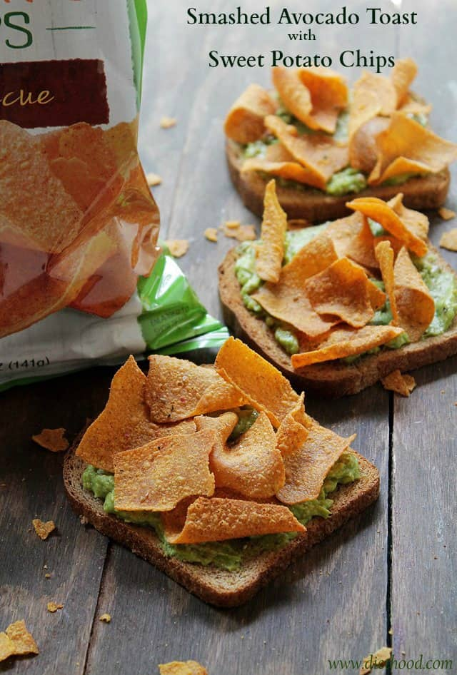 Smashed Avocado Toast with Sweet Potato Chips | www.diethood.com | Seasoned mashed avocado served on a whole grain toast and topped with Green Giant™ Multigrain Barbecue Sweet Potato Chips | #GiantFlavor