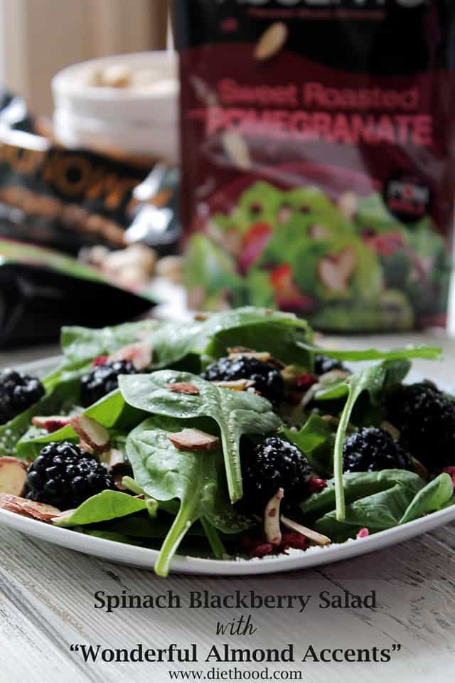 Spinach Blackberry Salad with Wonderful Almond Accents | www.diethood.com | #WonderfulSummer #recipe