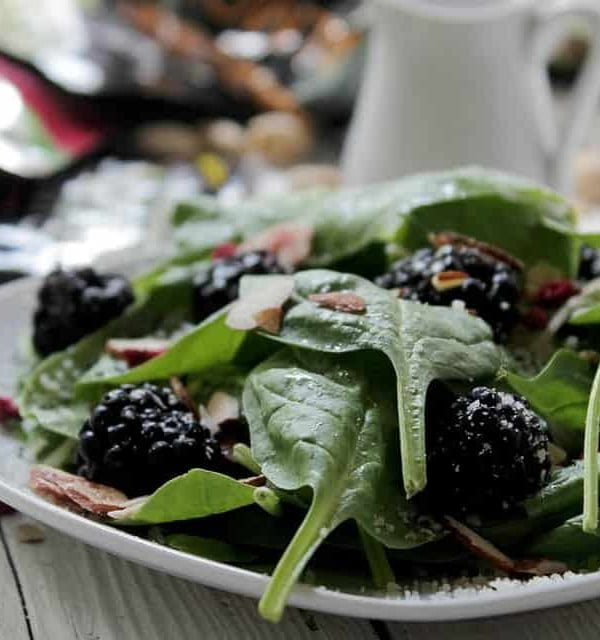 Spinach Blackberry Salad with Wonderful Almond Accents | www.diethood.com | #WonderfulSummer #recipe