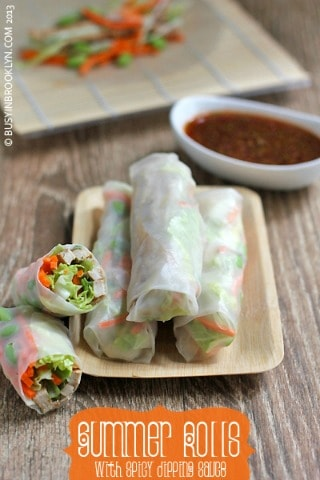 Summer Rolls with Spicy Dipping Sauce from Busy in Booklyn