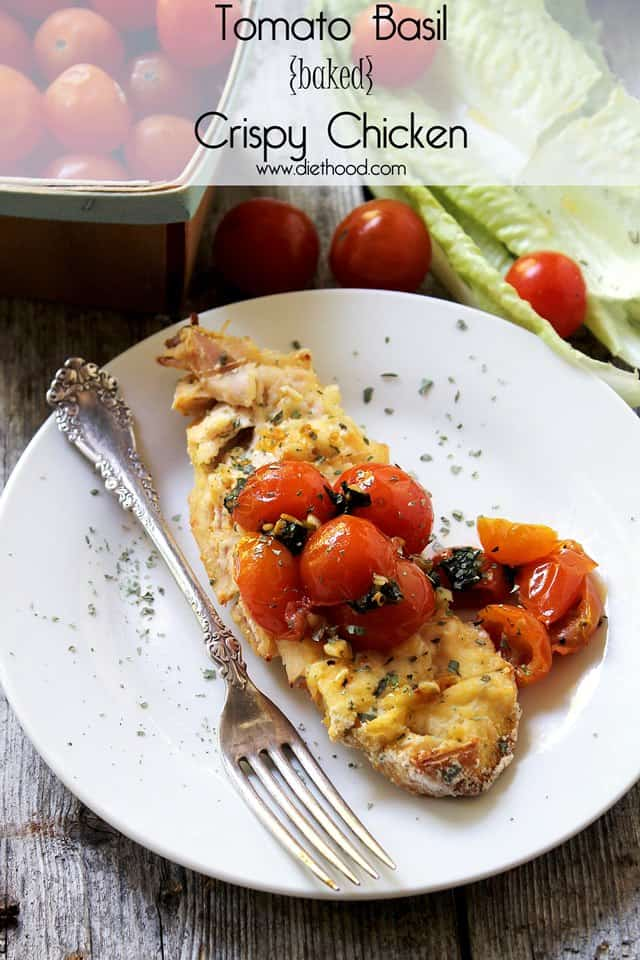 Tomato Basil Baked Crispy Chicken | Chicken breasts coated with seasoned corn meal and topped with a delicious, sauteed tomato and basil mixture | www.diethood.com | #chickenrecipe