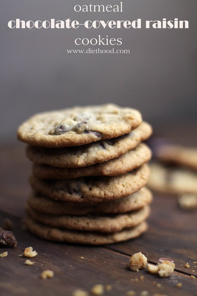 Oatmeal Chocolate Covered Raisin Cookies Diethood Oatmeal Chocolate ...