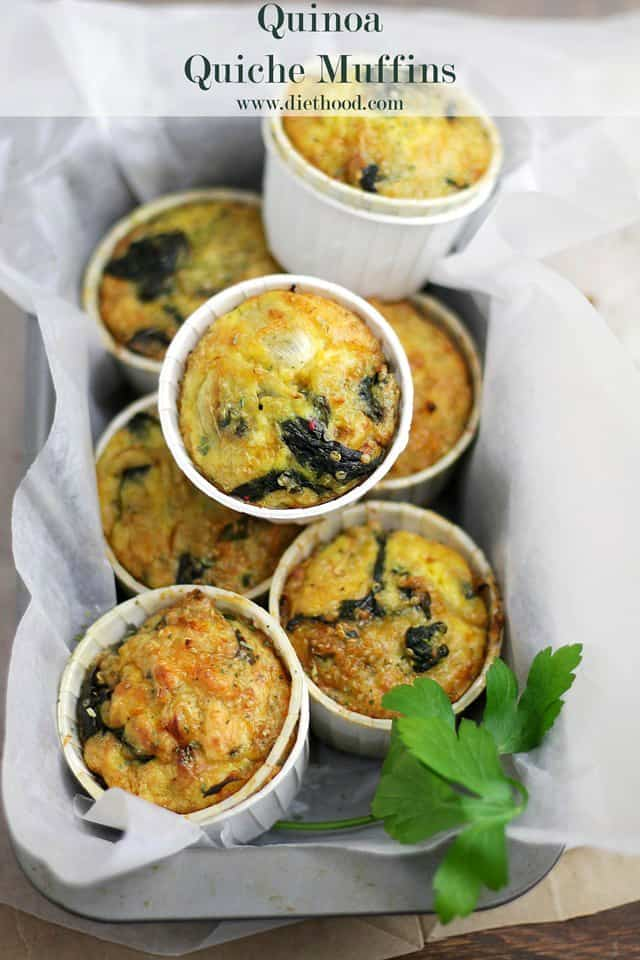 Quinoa Spinach Quiche Muffins Diethood Quinoa Quiche Muffins with Spinach and Cheese {Giveaway}