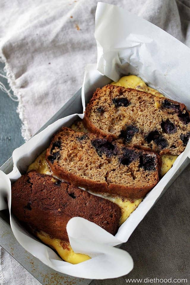 Banana Bread Stuffed French Toast   www.diethood.com   Banana Bread filled with a sweet ricotta mixture and baked in a deliciously rich custard.   #recipe #frenchtoast #breakfast