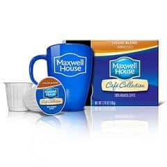 Maxwell House Coffee pods, mug, and box