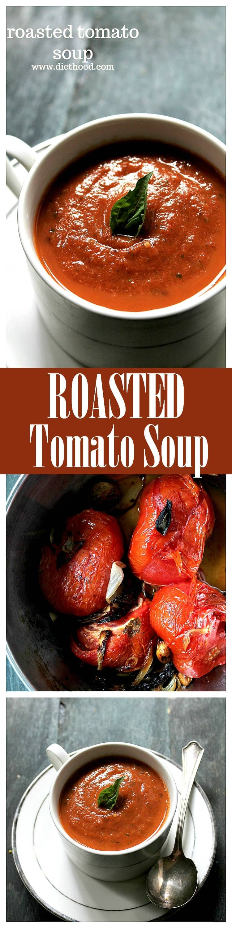 A delicious Roasted Tomato Soup made with garden fresh tomatoes, garlic, onions, and basil.