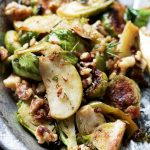 Brussels Sprouts Salad with Apples and Candied Walnuts | www.diethood.com
