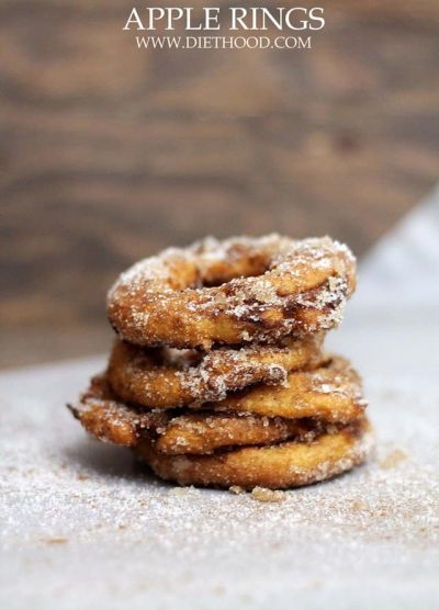 Apple Rings   www.diethood.com   A quick and delicious snack of sliced apple rings dipped in a yogurt batter, fried, and topped with cinnamon-sugar.   #apples #dessert #snacks #recipe