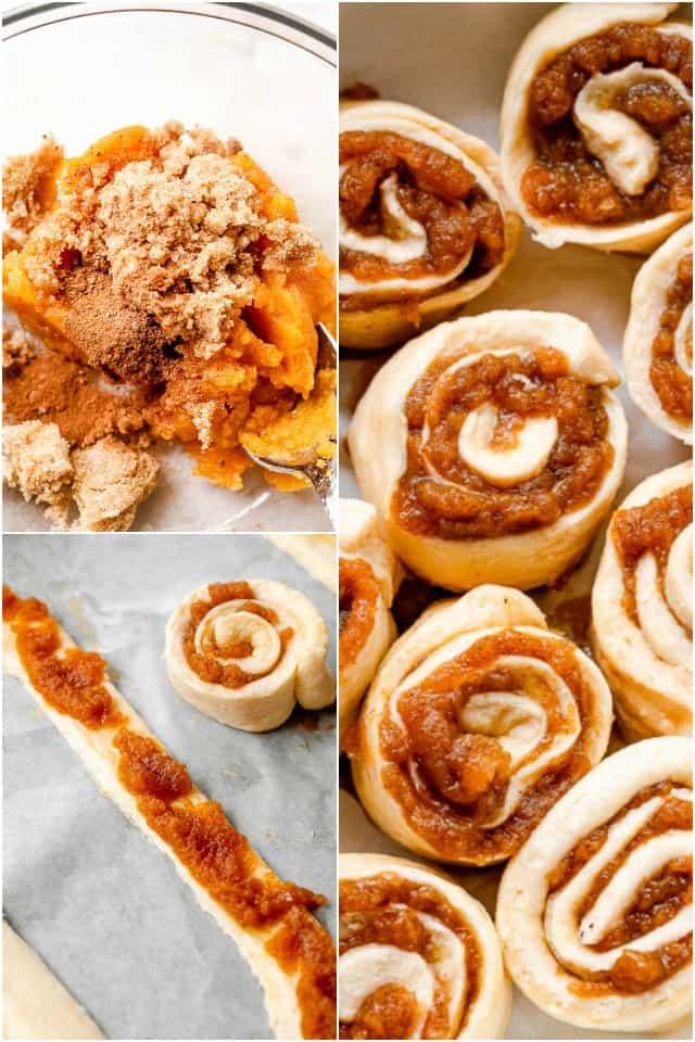 step by step collage of making pumpkin pie cinnamon rolls