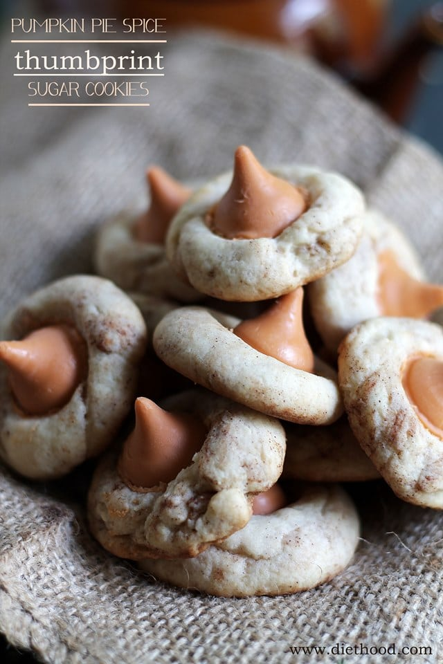 Pumpkin Pie Spice Thumbprint Sugar Cookies | www.diethood.com