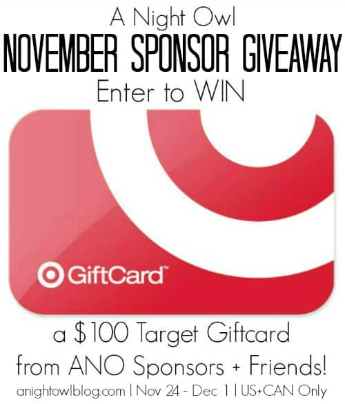 ANO November Sponsor Giveaway advertisement for $100 Target Gift Card