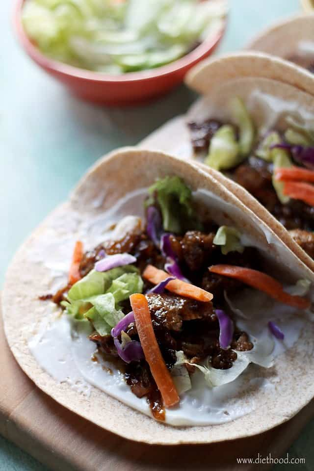Sweet Korean BBQ Beef Tacos - Amazingly tender, super flavorful Korean beef prepared in the crockpot!