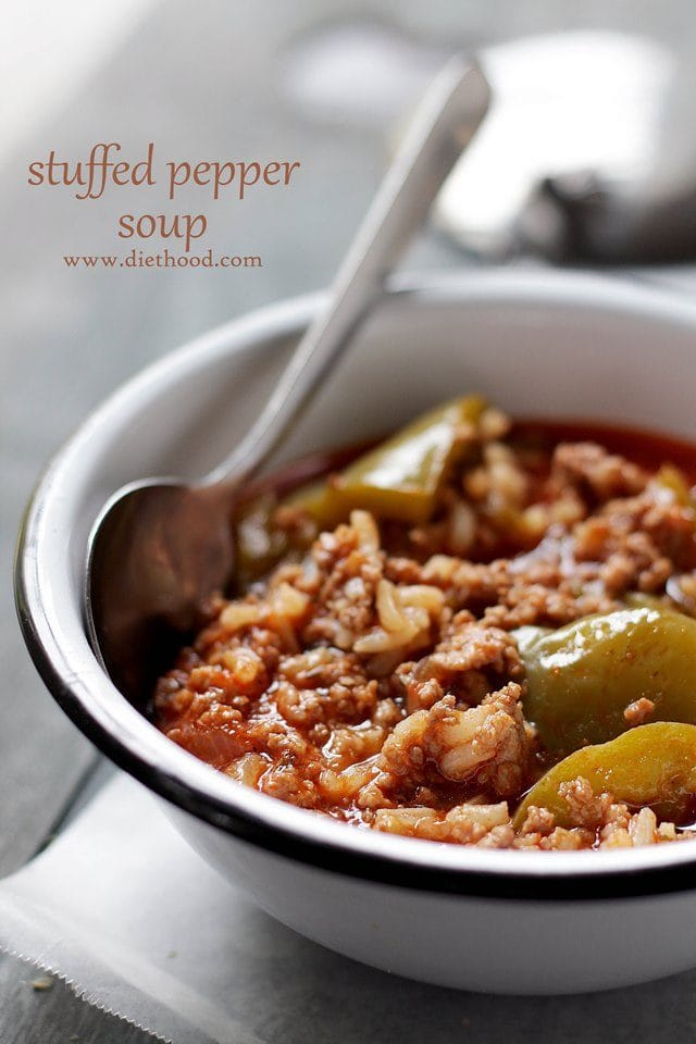 Stuffed Pepper Soup in a bowl with a spoon.
